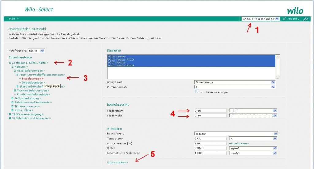 Pumpenauslegung mit Wilo-Select Online