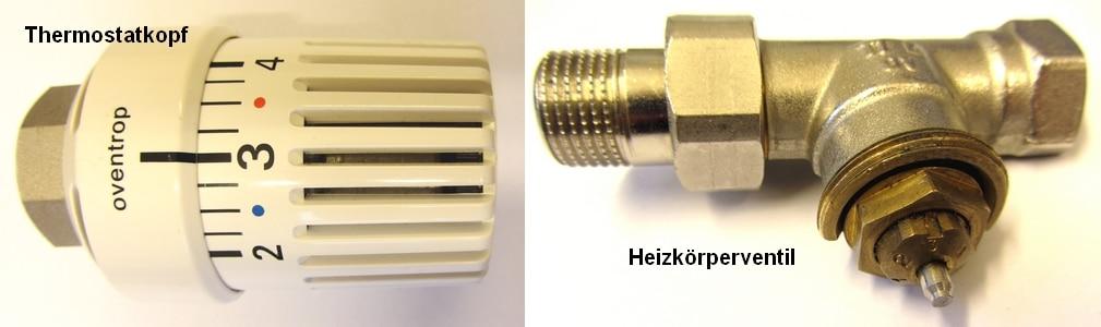 Bauteile eines Thermostatventils - Linkes Bild: Thermostatkopf, rechtes Bild: Heizkörperventil