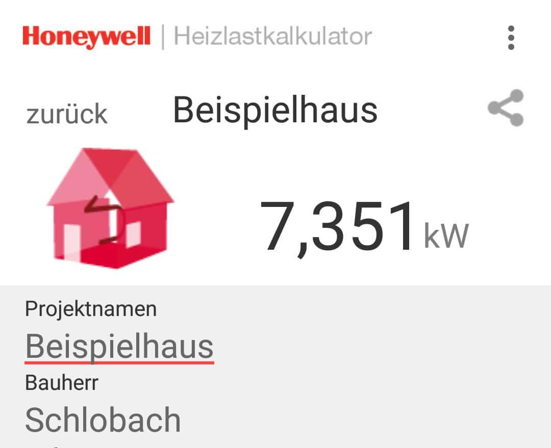 Heizlast-App - Anzeige der Gesamtheizlast - Beispielgebäude
