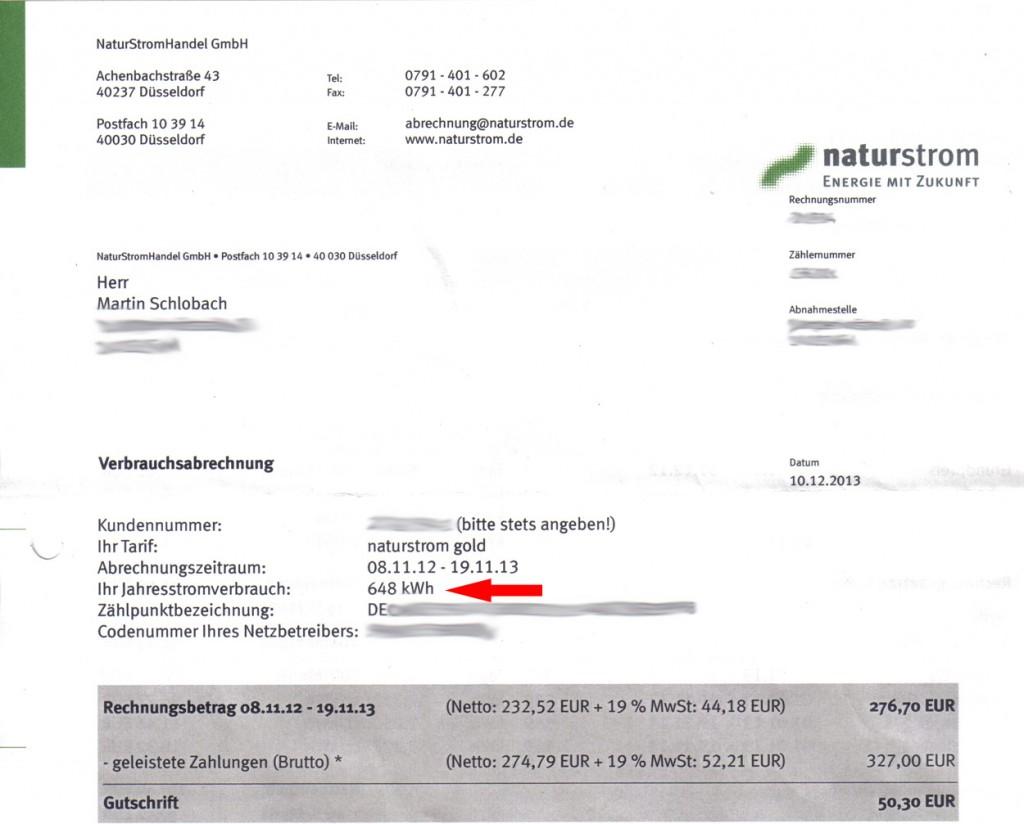 Jahresabrechnung Strom 2013