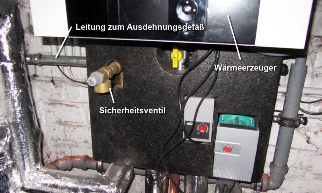 Sicherheitsventil an einem Wärmeerzeuger
