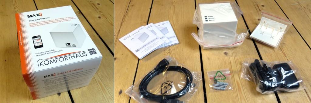Im Linken Bild sieht man die Verpackung des MAX! Cubes, links den Verpackungsinhalt: die Bedienungsanleitung, den Cube, die Wandhalterung, ein LAN Kabel und einen Netzstecker
