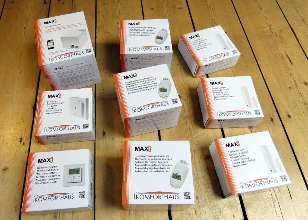 Verpackungsinhalt des MAX! Startersets, bestehend aus den genannten Komponenten