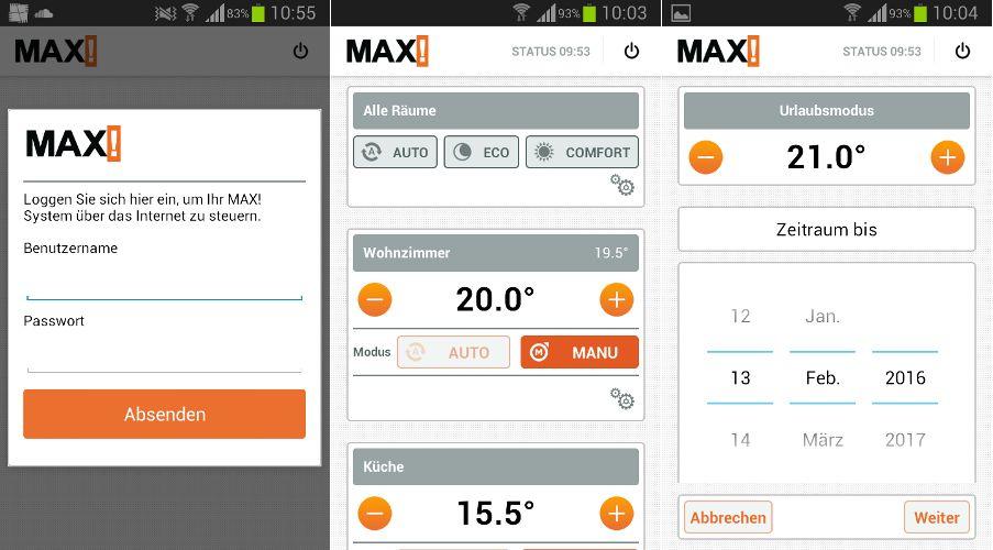 MAX! Heizungsapp: Links sieht man den Einloggbildschrim, in der Mitte die Übersicht der aktuellen Solltemperaturen, Rechts sieht man die Einstellmöglichkeiten für den Urlaubsmodus