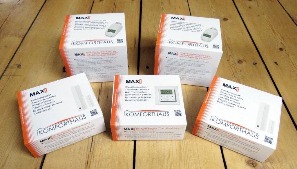 MAX! Heizungssteuerung - Komponenten der Raumlösung: 2 Thermostate, 2 Fensterkontakte und ein Wandthermostat