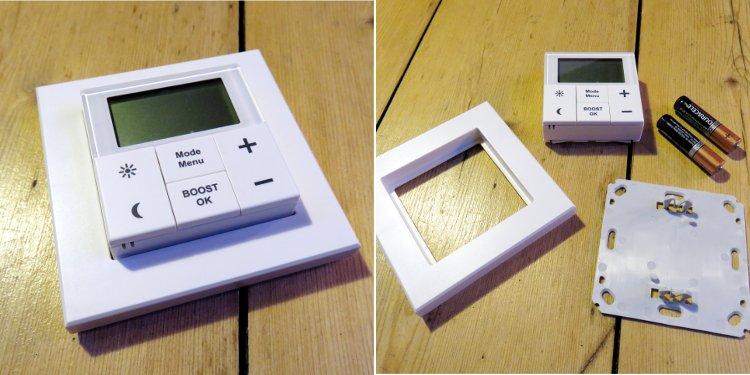 Im linken Bild sieht man das zusammengebaute Wandthermostat, im rechten Bild die Einzelteile des Wandthermostats, bestehend aus: dem Thermostatelement, einem Aufputzrahmen, eine Halterungsplatte sowie zwei Batterien