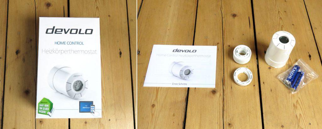 Devolo Home Control – Heizkörperthermostat mit Bedienungsanleitung, AA Batterien und Adaptern für Danfoss Ventile