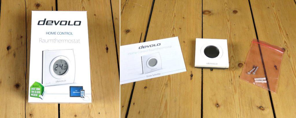 Devolo Home Control – Raumthermostat mit Befestigungsmöglichkeiten und Bedienungsanleitung