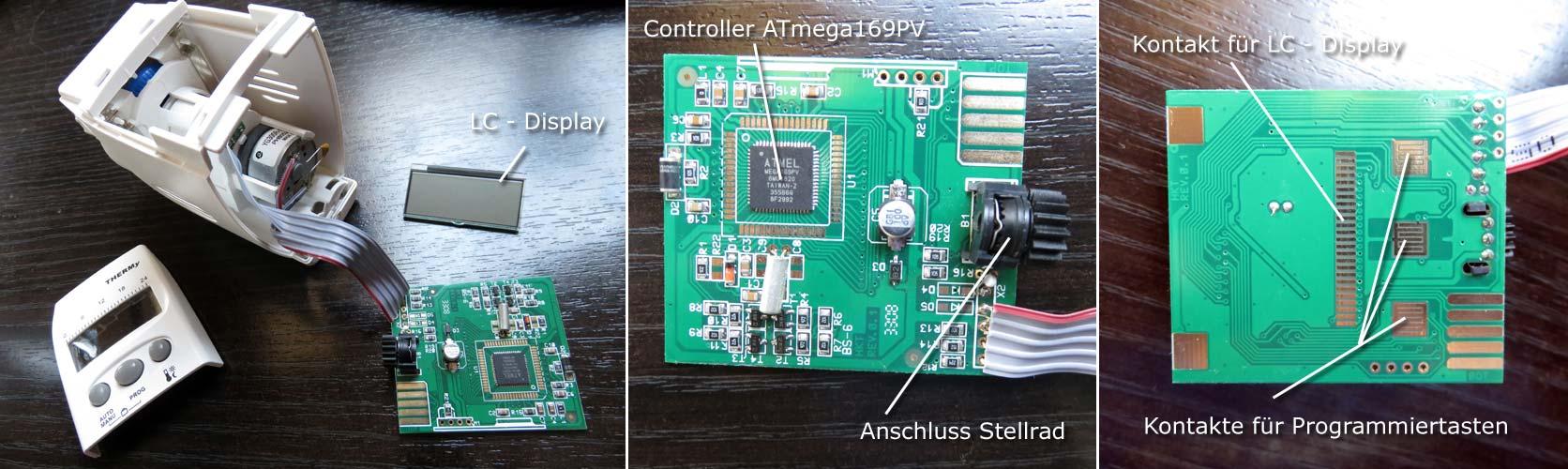 Bauteile elektronisches Thermostat - Bild 1: elektronisches Thermostat; Bild 2: Vorderseite Platine mit ATmega169PV Controller und Anschluss für Stellrad; Bild 3: Rückseite Platine mit Anschlüssen für LC-Display und Programmiertasten