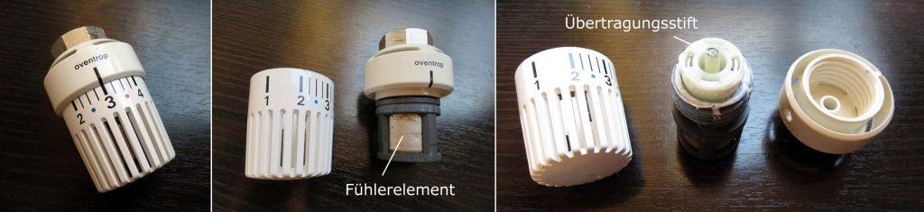 Bestandteile eines Thermostatkopfes - Bild links: Thermostat komplett, Bild mitte: Fühlerelement und Hülle, Bild rechts: Hülle und Fühlerelement mit sichtbarem Übertragungsstift