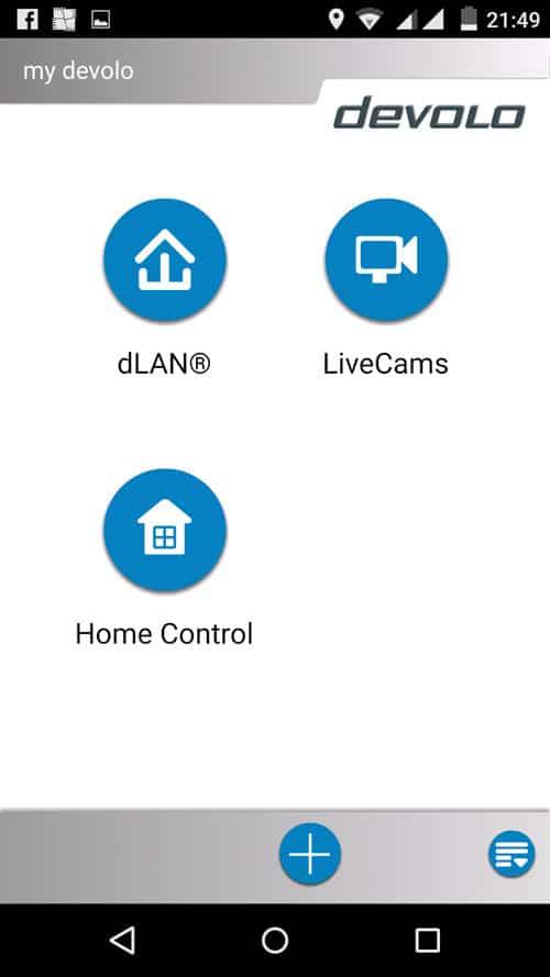 MyDevolo App - Auswahlbildschirm Devolo Programm