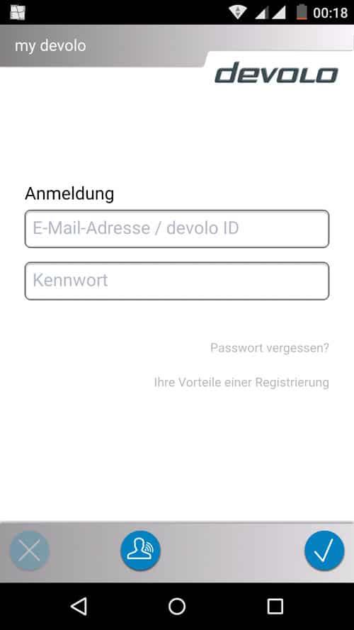 MyDevolo App - Login Bildschirm