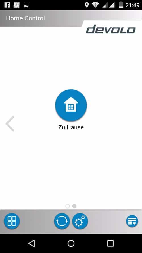 MyDevolo App - Auswahlbildschirm Mein Zuhause