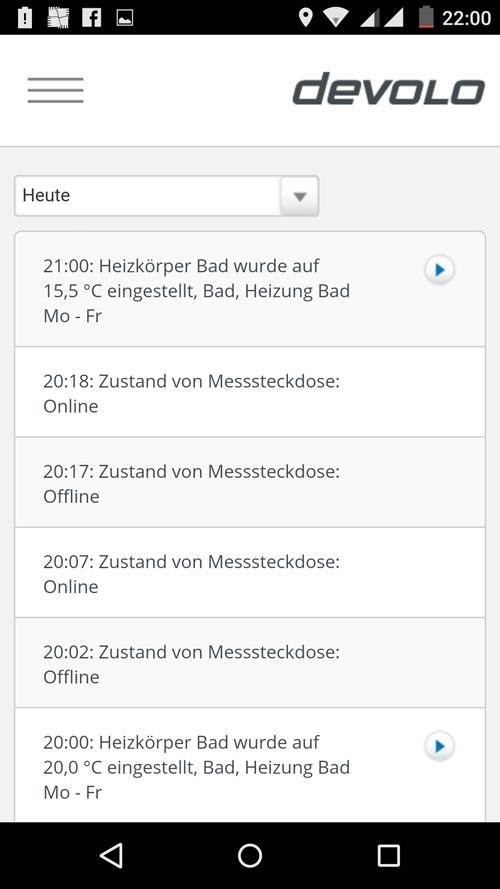 MyDevolo App - Übersicht Protokoll