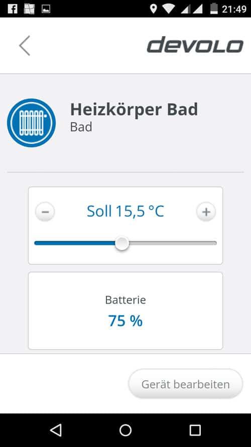 MyDevolo App - Einstellung und Batteriestatus eines Heizkörperthermostats