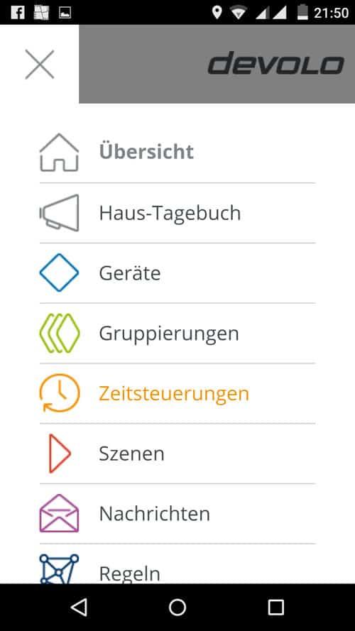 MyDevolo App - Übersicht aller Einstellungsmöglichkeiten