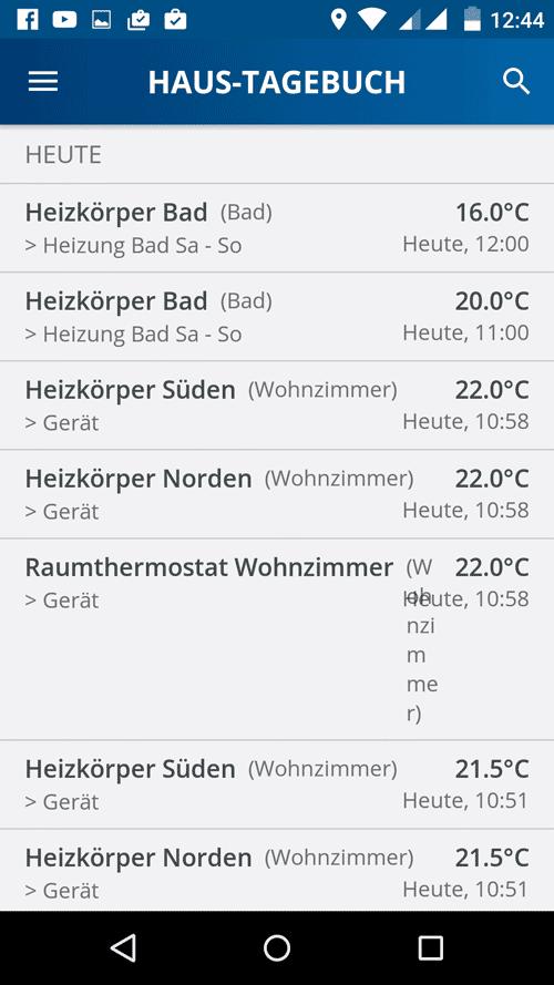 Devolo Home Control App - Haus Tagebuch