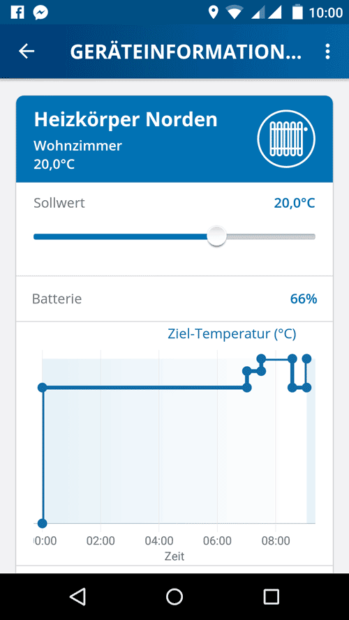 Devolo Home Control App - Heizungstemperaturverlauf