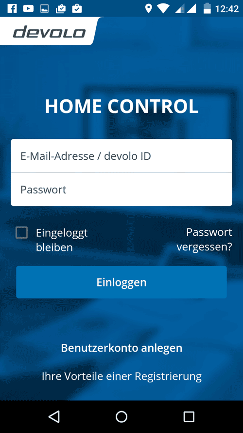 Devolo Home Control App - Login