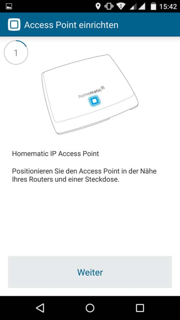 Homematic IP App Accesspoint installieren Schritt 1