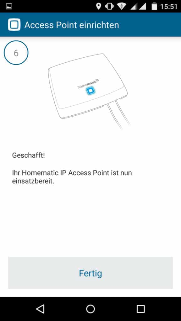 Homematic IP App Accesspoint installieren Schritt 6