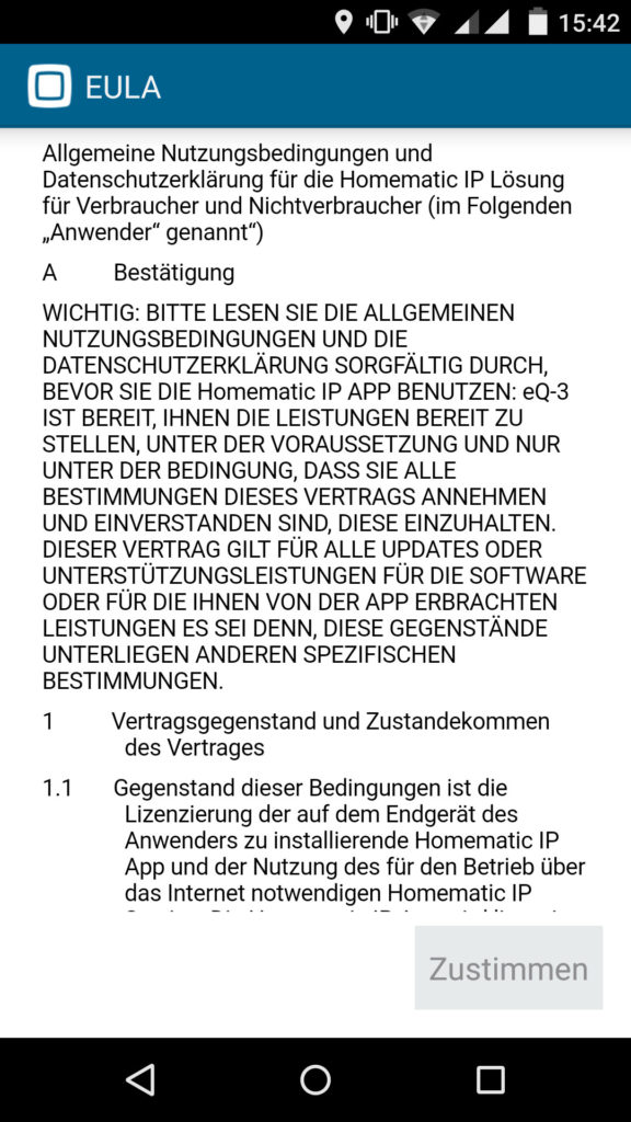 Homematic IP App EULA Zustimmung