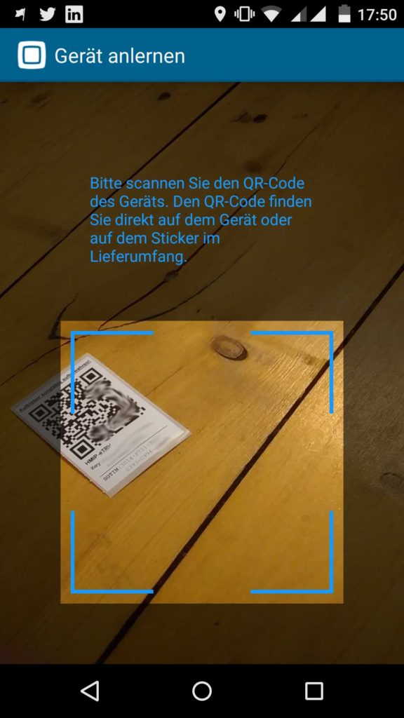 Homematic IP App Heizkörperthermostat QR Code scannen