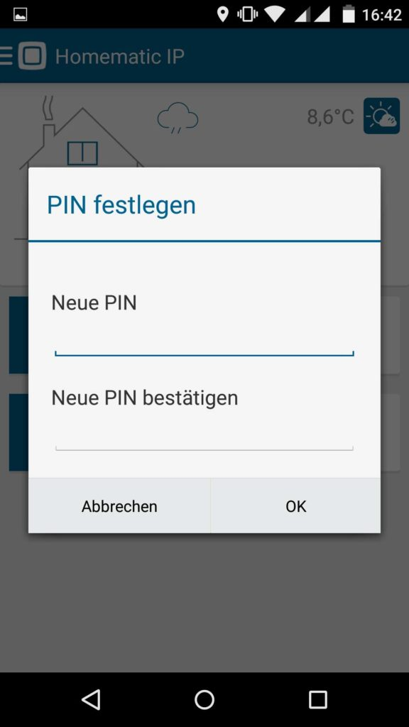 Homematic IP App Sicherheitspin festlegen