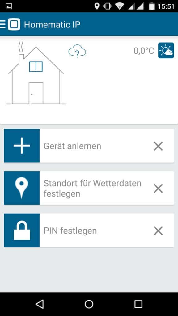 Homematic IP App Startbildschirm