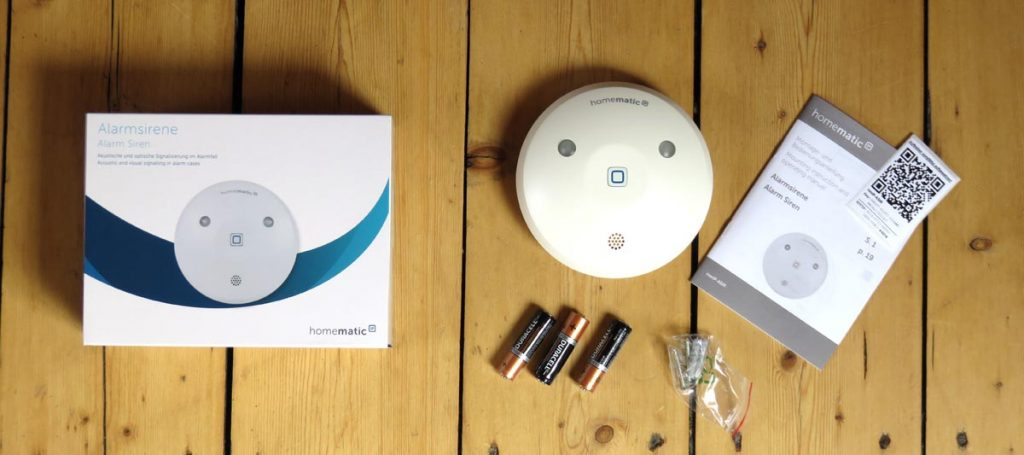 Homematic IP Alarmsirene mit Verpackungszubehör