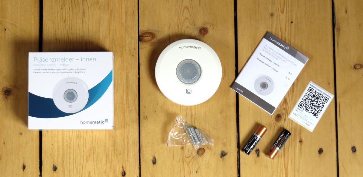 Homematic IP Präsenzmelder mit Verpackungszubehör
