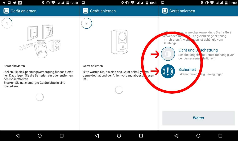 Homematic IP App Bewegungsmelder im System anlernen