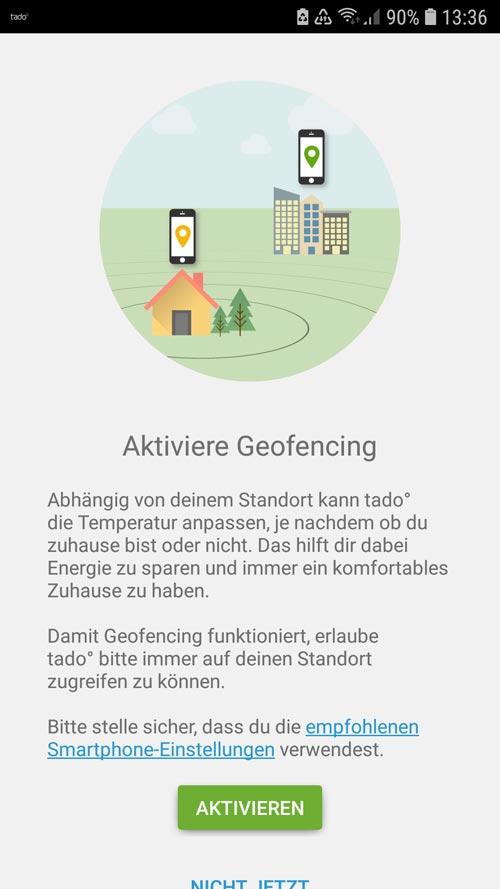 tado° App Geofencing aktivieren