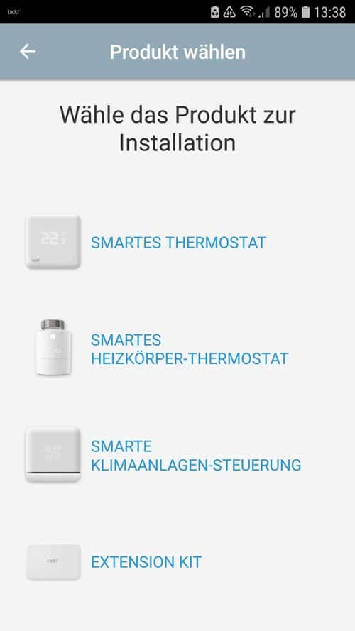 tado° App Smartes Heizkörperthermostat hinzufügen