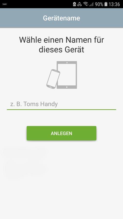 tado° App Gerätename hinterlegen