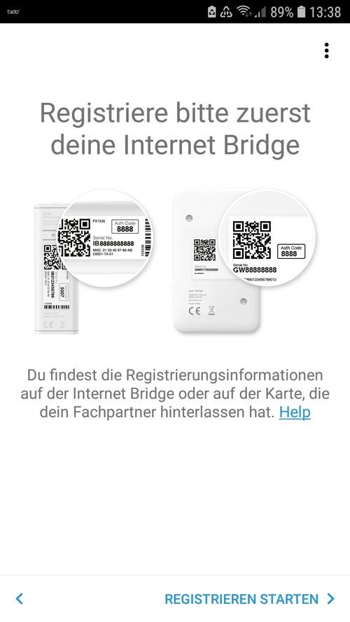 tado° App Aufforderung die Internet Bridge zu installieren