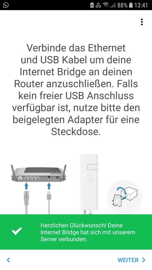 tado° app Internet Bridge erfolgreich installiert