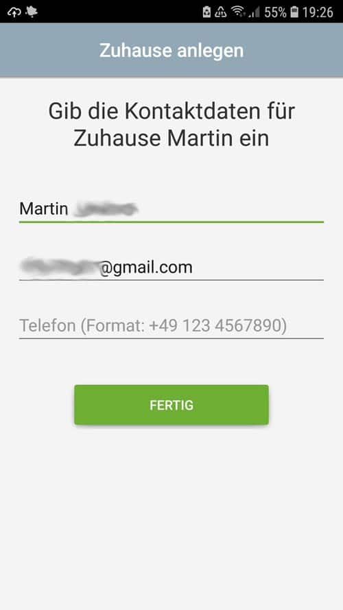 tado° App Kontaktdaten angeben