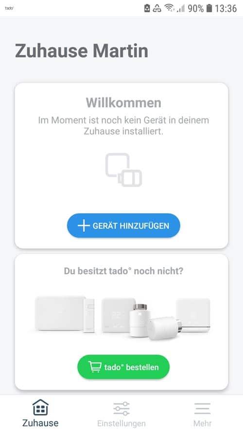tado° App Übersicht zu Hause - Gerät hinzufügen