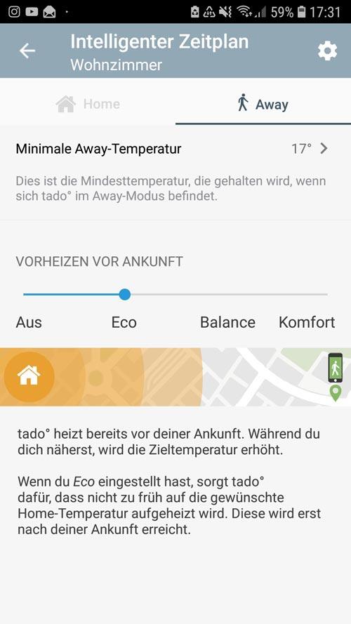 """tado° App - Einstellungen """"Away"""" intelligenter Zeitplan"""