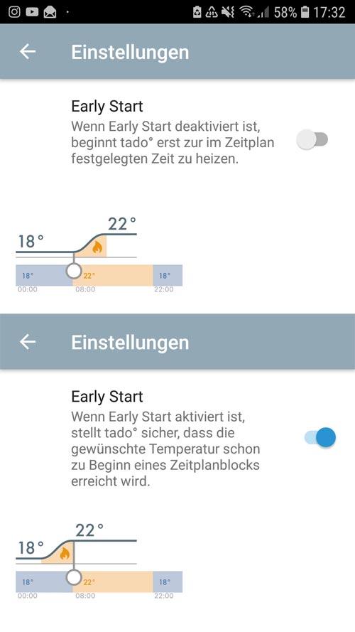 """tado° App - Einstellungen """"Home"""" Easy Start"""
