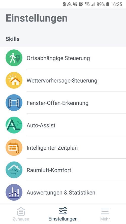 tado° App - Einstellungen Übersicht der Skills