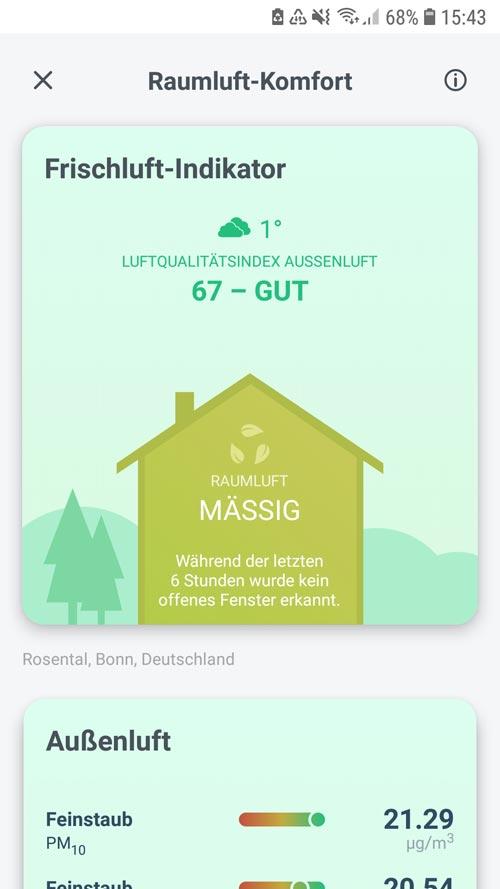 tado° App - Übersicht des Frischluftindikators für Innen- und Außenluft