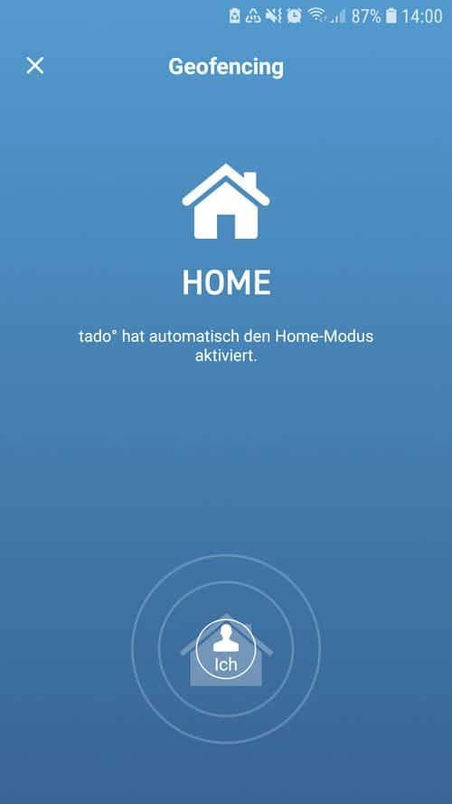 tado° App - Anzeige vom Geofencing Home oder Away