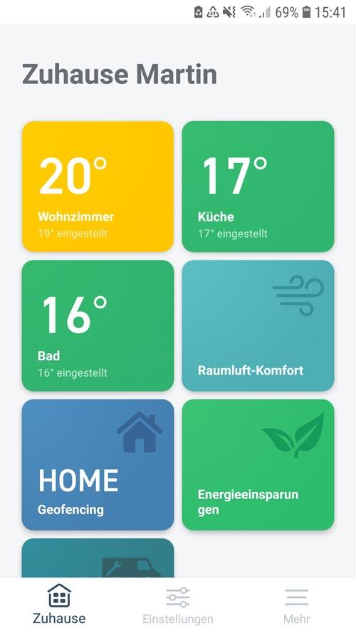 tado° App - zu Hause Bildschirm mit Kacheln