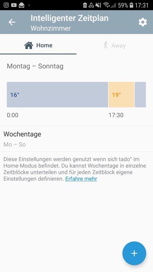 """tado° App - Einstellungen """"Home"""" intelligenter Zeitplan"""