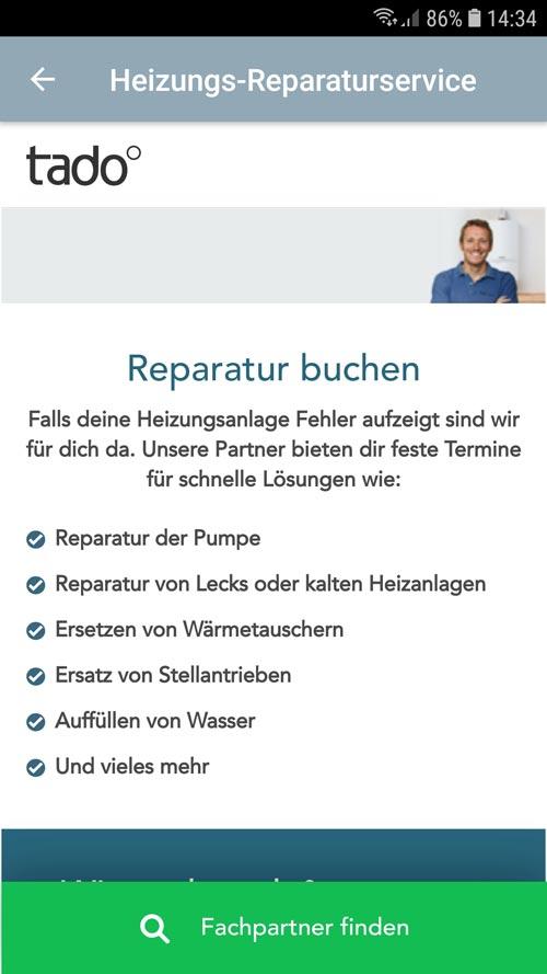 tado° App - Reparatur buchen