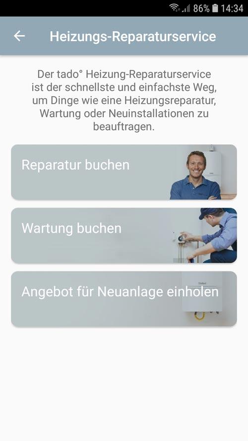 tado° App - Reparaturservice Übersicht