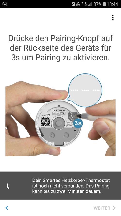 Drücken des Pairing Knopfes am tado° Thermostat