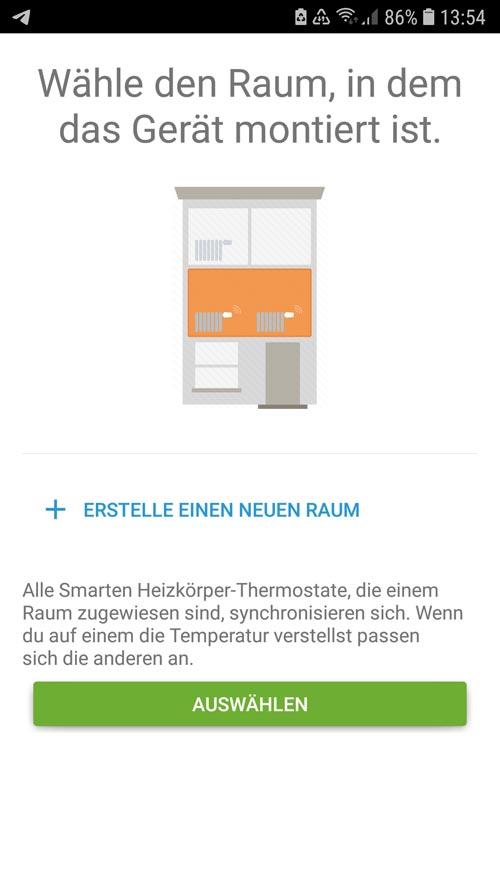 Erstellen eines Raumes und Zuordnung des tado° Thermostates